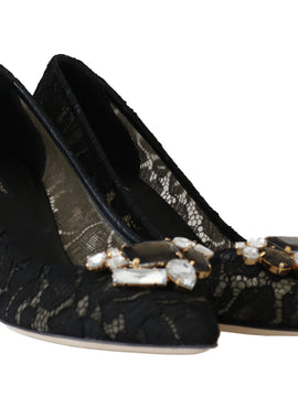 Dolce & Gabbana Black Lace Bellucci Crystal Pumps