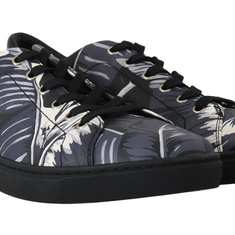 Dolce & Gabbana Black Leaf Print Leather Casual Gym Sneakers - Men - Shoes - Sneakers - Dolce & Gabbana | Gethuda Fashion