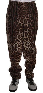 Dolce & Gabbana Brown Leopard Print Flax Sweatpants Pants - Men - Apparel - Trousers - Dolce & Gabbana | Gethuda Fashion