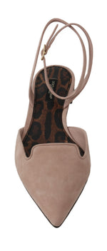 Dolce & Gabbana Beige Suede Leather Ankle Strap Sandal