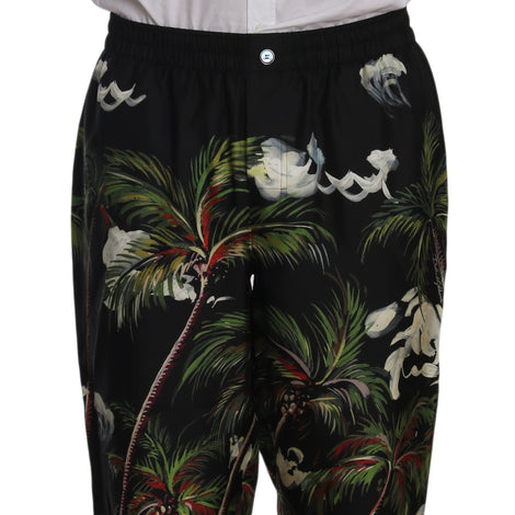 Dolce & Gabbana Black Coconut Tree Print Sleepwear Pants