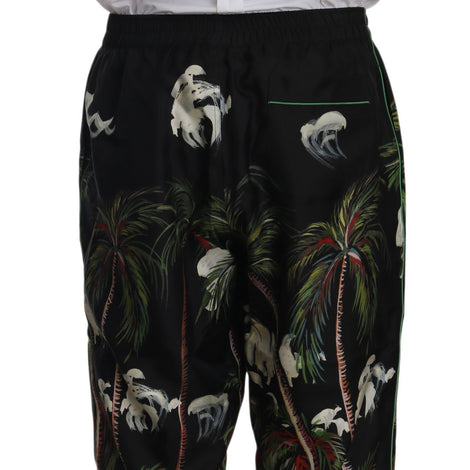 Dolce & Gabbana Black Coconut Tree Print Sleepwear Pants - Men - Apparel - Trousers - Dolce & Gabbana | Gethuda Fashion