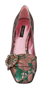 Dolce & Gabbana Green Shiny Floral Crystal Pumps - Women - Shoes - Pumps - Dolce & Gabbana | Gethuda Fashion