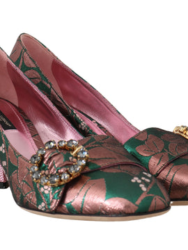 Green Shiny Floral Crystal Pumps