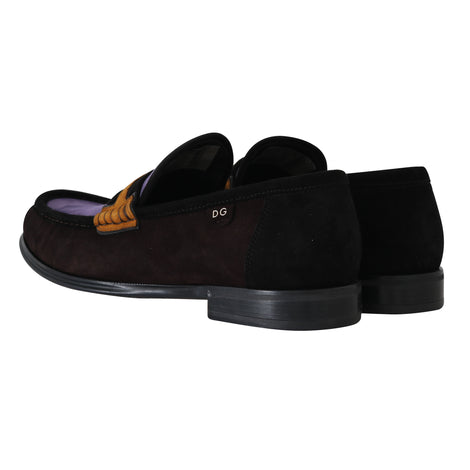 Dolce & Gabbana Brown Purple Suede Moccasins Loafers