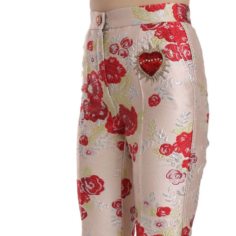 Dolce & Gabbana Floral Cropped Brocade Trousers Pink Pants