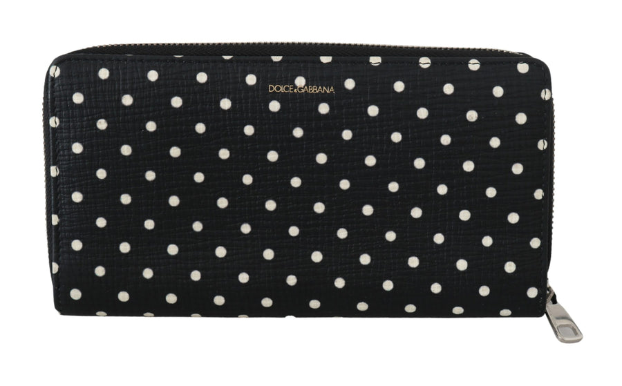 Black Polka Dots Piano Keyboard Mens Leather Wallet