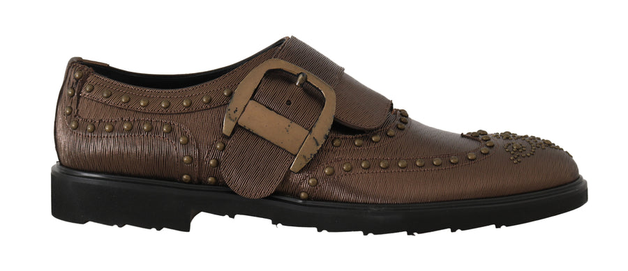 Dolce & Gabbana Bronze Leather Monkstrap Dress Formal Shoes - Men - Shoes - Oxfords - Dolce & Gabbana | Gethuda Fashion