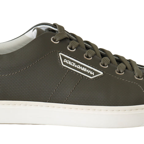 Dolce & Gabbana Green Leather Casual Gym Sport Scarpe Sneakers
