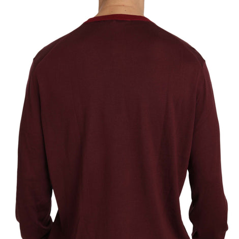 Dolce & Gabbana Maroon Crown Logo Silk Pullover Sweater