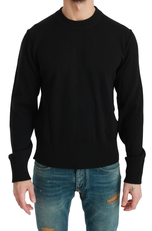 Black Crewneck Pullover Virgin Wool Sweater