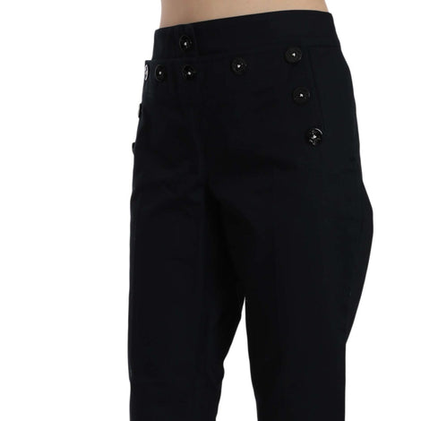 Dolce & Gabbana Black Cropped Front Button Embellished Pants - Women - Apparel - Pants - Trousers - Dolce & Gabbana | Gethuda Fashion