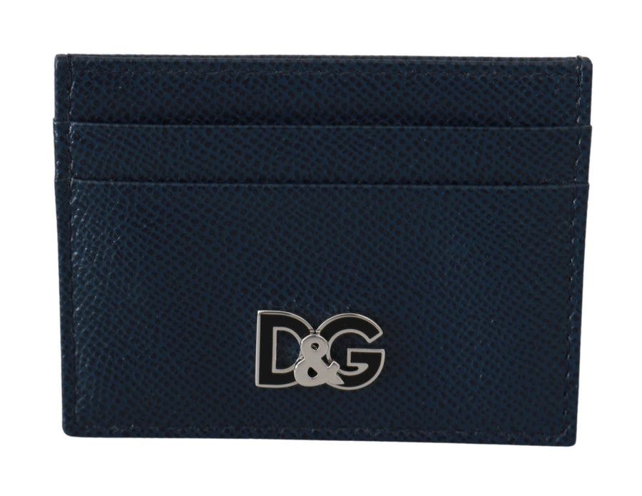 Blue DG Logo Mens Card Holder Slot 100% Leather Wallet