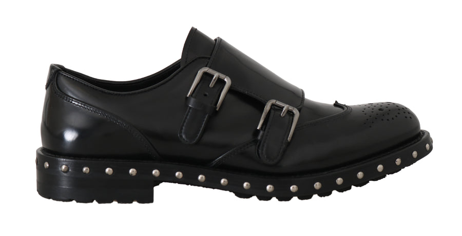 Dolce & Gabbana Shoes Black Leather Studded Formal Shoes - Men - Shoes - Oxfords - Dolce & Gabbana | Gethuda Fashion