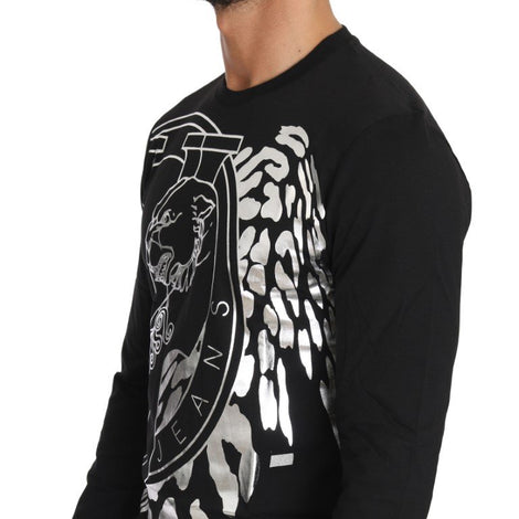 Black Cotton Silver Tiger Crewneck Pullover - Men - Apparel - Shirts - T Shirts - Versace Jeans | Gethuda Fashion