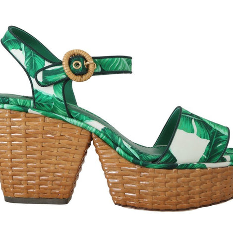 Dolce & Gabbana Green Banana Ankle Strap Silk Sandals Shoes - Women - Shoes - Sandals - Dolce & Gabbana | Gethuda Fashion