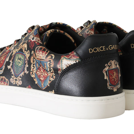 Dolce & Gabbana Black Knight King Shield Print Leather Sneakers - Men - Shoes - Sneakers - Dolce & Gabbana | Gethuda Fashion