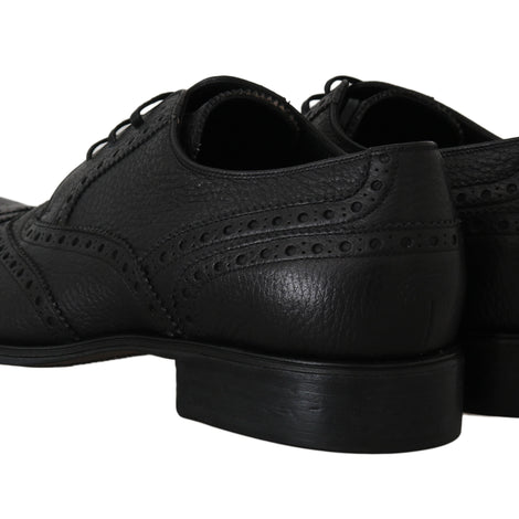 Dolce & Gabbana Black Leather Wingtip Derby Formal Shoes