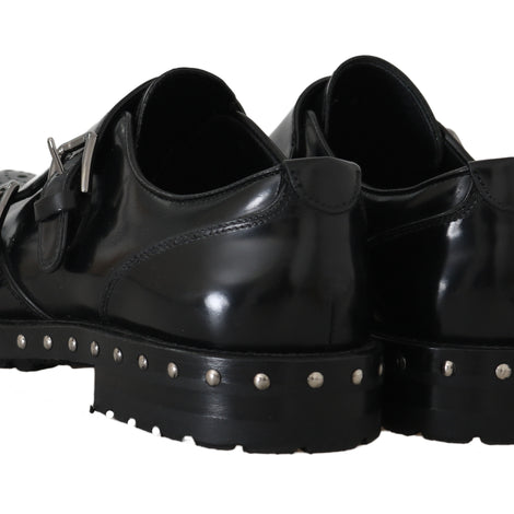 Dolce & Gabbana Shoes Black Leather Studded Formal Shoes