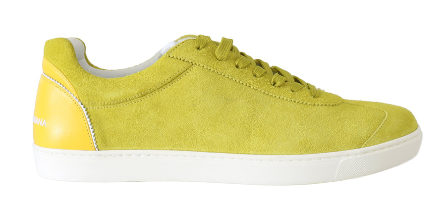 Dolce & Gabbana Yellow Leather Mens Casual Sneakers - Men - Shoes - Sneakers - Dolce & Gabbana | Gethuda Fashion