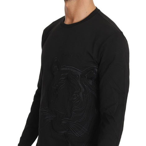 Black Cotton Tiger Embroidered Crewneck  T-shirt - Men - Apparel - Shirts - T Shirts - Versace Jeans | Gethuda Fashion