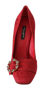 Dolce & Gabbana Red Jacquard Floral Crystal Pumps - Women - Shoes - Pumps - Dolce & Gabbana | Gethuda Fashion