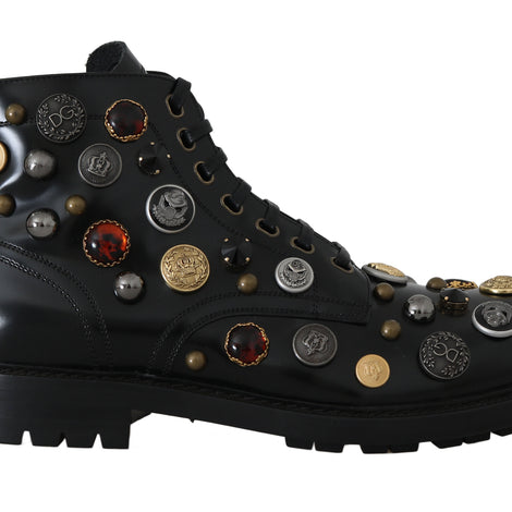 Dolce & Gabbana Black Leather Pearl Studs Logo Boots - Men - Shoes - Boots - Dolce & Gabbana | Gethuda Fashion