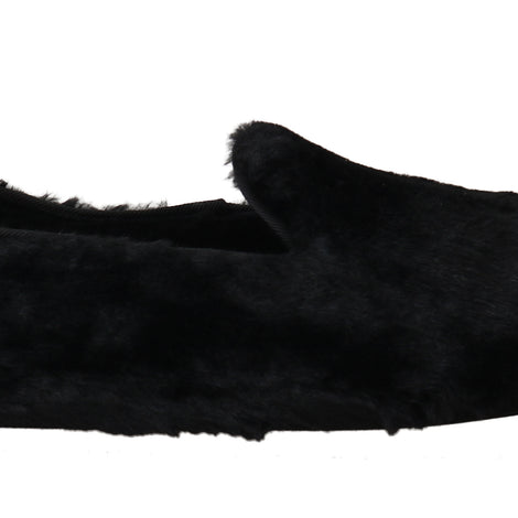 Dolce & Gabbana Black Shearling Slippers Loafers - Men - Shoes - Loafers Drivers - Dolce & Gabbana | Gethuda Fashion