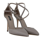 Dolce & Gabbana Gray Leather Iguana Pattern Sandals