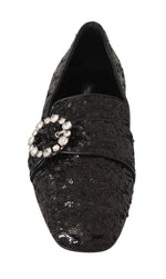Dolce & Gabbana Black Sequined Flats Crystal Loafers Shoes