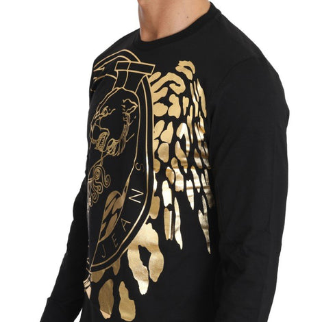Black Cotton Gold Tiger Crewneck Pullover - Men - Apparel - Shirts - T Shirts - Versace Jeans | Gethuda Fashion