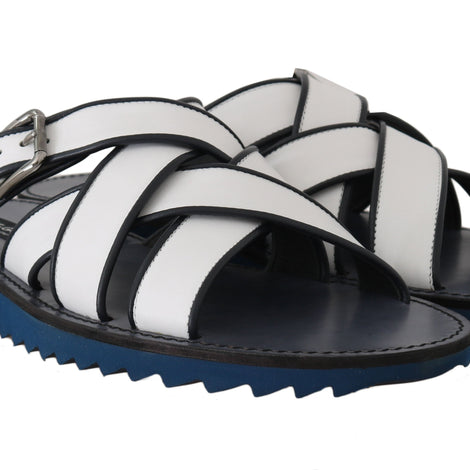Dolce & Gabbana White Blue Leather Slides Sandals - Men - Shoes - Sandals - Dolce & Gabbana | Gethuda Fashion
