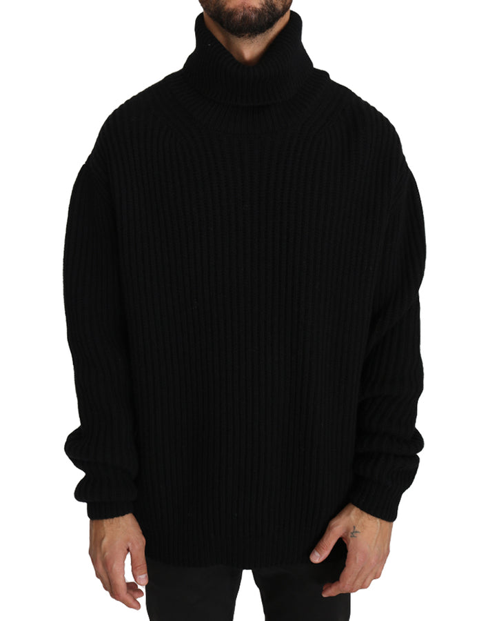 Dolce & Gabbana Black Knitted Wool Turtleneck Pullover Sweater - Men - Apparel - Sweaters - Pull Over - Dolce & Gabbana | Gethuda Fashion