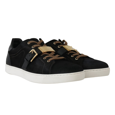 Dolce & Gabbana Black Leather Gold Buckle Sneakers Shoes - Men - Shoes - Sneakers - Dolce & Gabbana | Gethuda Fashion