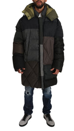 Dolce & Gabbana Gray Brown Wool Patterned Puffer Hooded Coat - Men - Apparel - Outerwear - Jackets - Dolce & Gabbana | Gethuda Fashion