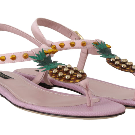 Pink Leather Pineapple Flip Flops