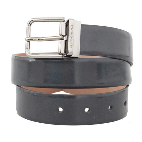 Dolce & Gabbana Gray Leather Silver Buckle Belt
