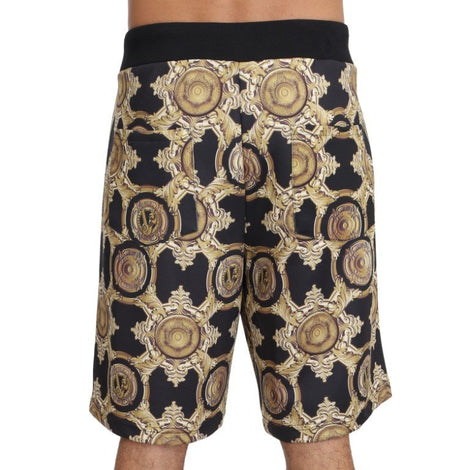 Black Gold Baroque Knee Length Casual Mens - Men - Apparel - Shorts - Casual - Versace Jeans | Gethuda Fashion