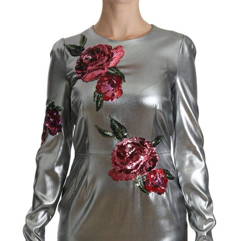 Dolce & Gabbana Silver Silk Stretch Roses Sheath Dress - Women - Apparel - Dresses - Casual - Dolce & Gabbana | Gethuda Fashion