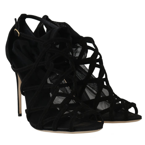 Dolce & Gabbana Black Suede Tulle Booties Heels - Women - Shoes - Sandals - Dolce & Gabbana | Gethuda Fashion