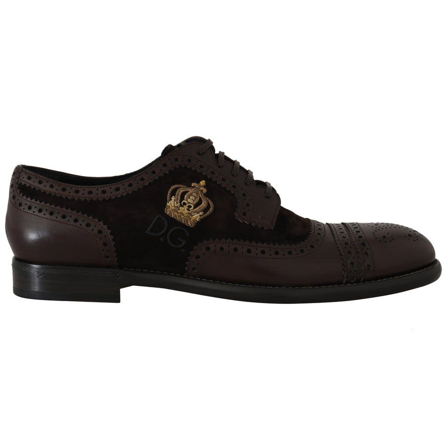 Dolce & Gabbana Brown Suede Leather Crown Wingtip Shoes - Men - Shoes - Oxfords - Dolce & Gabbana | Gethuda Fashion