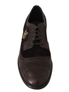 Dolce & Gabbana Brown Suede Leather Crown Wingtip Shoes
