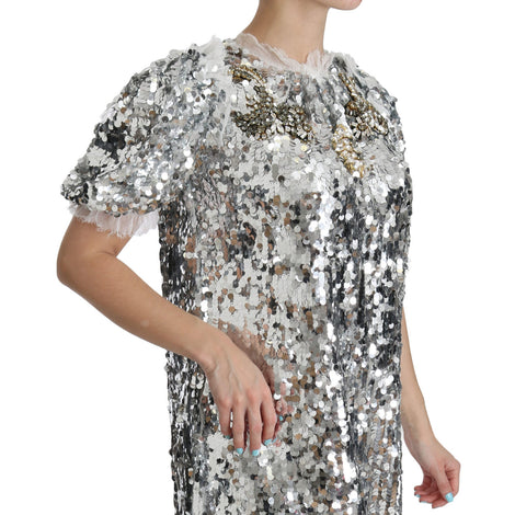 Dolce & Gabbana Silver Sequined Crystal Shift Gown Dress - Women - Apparel - Dresses - Casual - Dolce & Gabbana | Gethuda Fashion