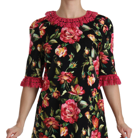 Dolce & Gabbana Floral Roses Cotton Stretch Shift Dress - Women - Apparel - Dresses - Casual - Dolce & Gabbana | Gethuda Fashion