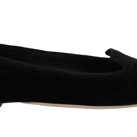 Dolce & Gabbana Black Velvet Leather Ballet Flats - Women - Shoes - Flats - Dolce & Gabbana | Gethuda Fashion