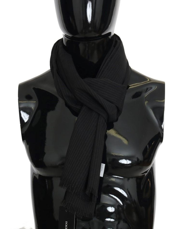 Dolce & Gabbana Black Wool Striped Pattern Scarf -  - Dolce & Gabbana | Gethuda Fashion