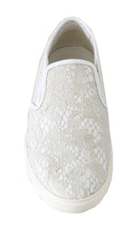 Dolce & Gabbana White Leather Lace Slip On Loafers - Women - Shoes - Flats - Dolce & Gabbana | Gethuda Fashion
