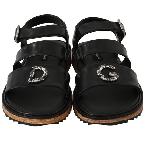 Dolce & Gabbana Black Leather Strap Crystal Sandals - Men - Shoes - Sandals - Dolce & Gabbana | Gethuda Fashion