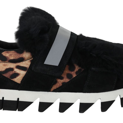 Dolce & Gabbana Leopard Leather Black Fur Sneaker