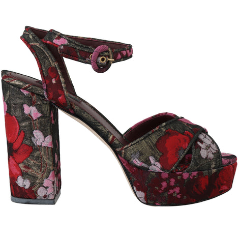 Dolce & Gabbana Red Floral Jacquard Sandals Platform - Women - Shoes - Sandals - Dolce & Gabbana | Gethuda Fashion